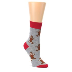 Gray-Brown-Gingerbread-Man-Womens-Dress-Sock-Good-Luck-Socks