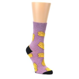 Purple-Yellow-Cheese-Chunk-Womens-Dress-Sock-Good-Luck-Socks
