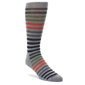 Gray Orange Green Stripe Wool Men's Casual Socks