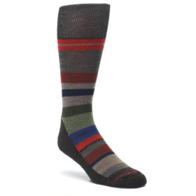 Chestnut-Red-Green-Stripe-Wool-Mens-Casual-Socks-Smartwool