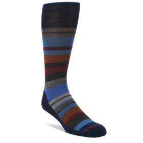 Navy-Blue-Orange-Stripe-Wool-Mens-Casual-Socks-Smartwool