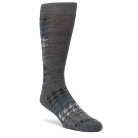 Gray-Blue-Houndstooth-Wool-Mens-Casual-Socks-Smartwool