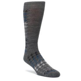 Gray-Blue-Houndstooth-Wool-Mens-Casual-Socks-Smartwool