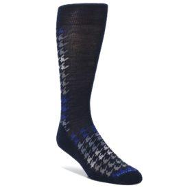 Navy-Blue-Houndstooth-Wool-Mens-Casual-Socks-Smartwool