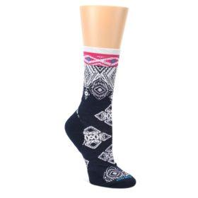 Navy-White-Pink-Diamond-Wool-Womens-Casual-Socks-Smartwool