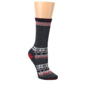 Charcoal-Red-Nordic-Wool-Womens-Casual-Socks-Smartwool