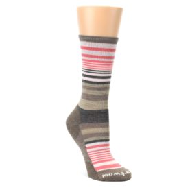 Pink-Tan-Stripe-Wool-Womens-Casual-Socks-Smartwool