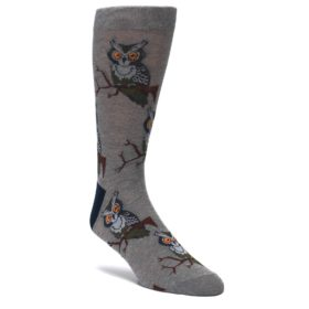 Gray-Perching-Owls-Mens-Dress-Sock-Good-Luck-Socks