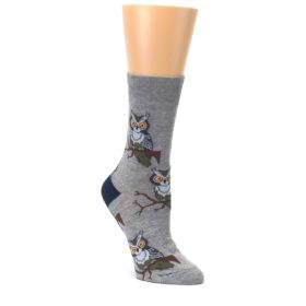 Grey-Perching-Owls-Womens-Dress-Sock-Good-Luck-Socks