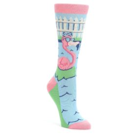 Pink-Blue-Flamingle-Flamingo-Womens-Dress-Socks-Statement-Sockwear