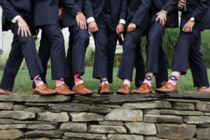 Coral and Navy Groomsmen Wedding Socks