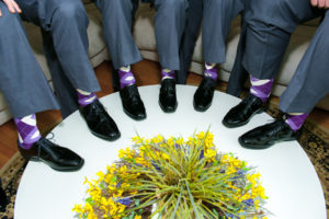 Purple Bouquet Groomsmen Wedding Socks