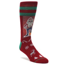Red-Hip-Santa-Christmas-Mens-Casual-Socks-Good-Luck-Socks