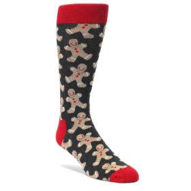 Gray-Tan-Gingerbread-Man-Mens-Dress-Socks-Happy-Socks