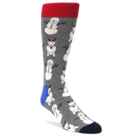 Gray-Snowman-and-Reindeer-Mens-Dress-Socks-Happy-Socks