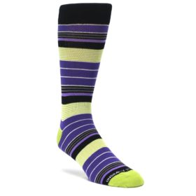 Purple Lime Green Stripe Men's Dress Socks