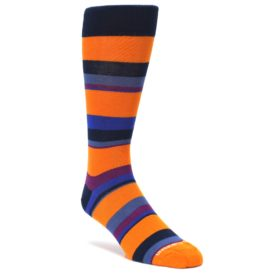 Orange-Blue-Stripe-Mens-Dress-Socks-Unsimply-Stitched