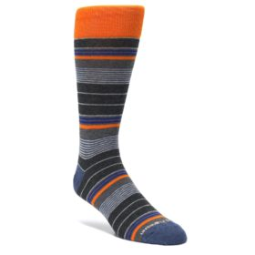 Charcoal-Orange-Stripe-Mens-Dress-Socks-Unsimply-Stitched