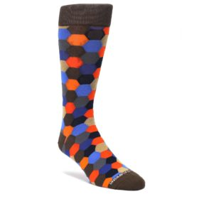 Brown-Orange-Blue-Hexagon-Mens-Dress-Socks-Unsimply-Stitched