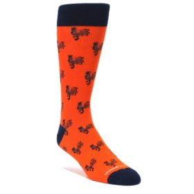 Orange-Navy-Rooster-Mens-Dress-Socks-Unsimply-Stitched