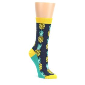 Navy-Yellow-Pineapple-Womens-Dress-Socks-Statement-Sockwear