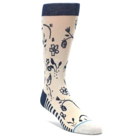 Cream-Navy-Floral-Playa-Dust-Mens-Casual-Socks-STANCE