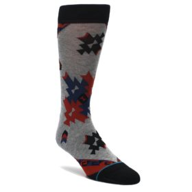 Gray-Red-Blue-Geometric-Mens-Casual-Socks-STANCE