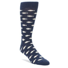 Navy cream school of fish socks
