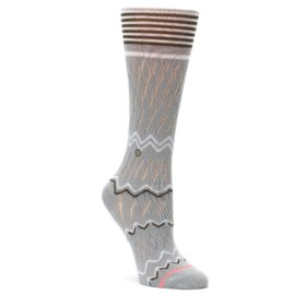 Gray-White-Brown-Zig-Zag-Womens-Casual-Sock-STANCE