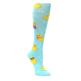 Light-Blue-Rubber-Ducks-Womens-Knee-High-Socks-K-Bell-Socks