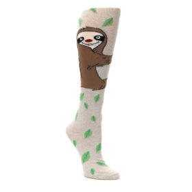 Tan-Brown-Sloth-Womens-Knee-High-Socks-K-Bell-Socks