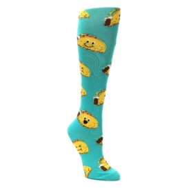 Turquoise-Yellow-Tacos-Womens-Knee-High-Socks-K-Bell-Socks