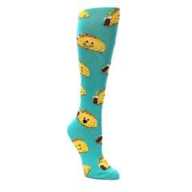 Turquoise-Yellow-Tacos-Womens-Knee-High-Socks-K-Bell-Socks