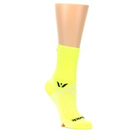 MEDIUM-Neon-Yellow-Solid-Womens-Crew-Athletic-Socks-Swiftwick