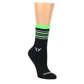 MEDIUM-Black-Green-Stripe-Womens-Crew-Athletic-Socks-Swiftwick-Swiftwick
