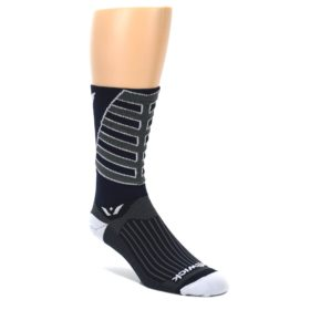 LARGE-Navy-Vision-Stripe-Mens-Tall-Crew-Athletic-Socks-Swiftwick