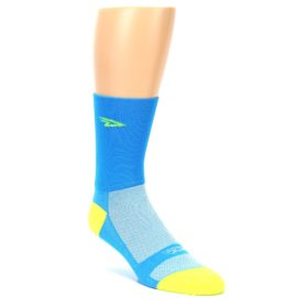 DeFeet Solid Color Blue Neon Yellow Men's Cycling Socks