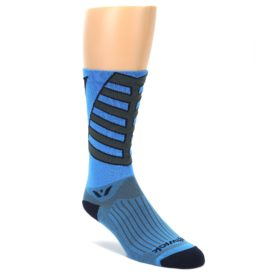 LARGE-Blue-Gray-Vision-Stripe-Mens-Tall-Crew-Athletic-Socks-Swiftwick