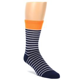 DeFeet Hi Vis Orange Sailor Stripe Men's Cycling Socks