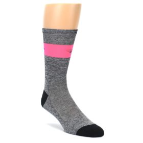 Grey Pink DeFeet Stripe Men's Bike Cycling Performance Socks
