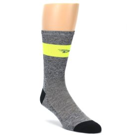 DeFeet Neon Yellow Gray Stripe Cycling Socks