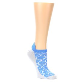 MEDIUM-Sky-Blue-Gray-Floral-Womens-No-Show-Tab-Athletic-Socks-Drymax