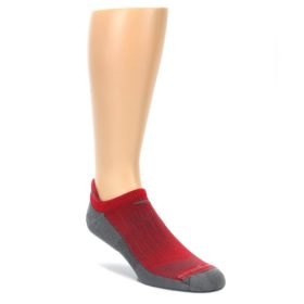 LARGE-Gray-Red-Mens-No-Show-Tab-Athletic-Socks-Drymax