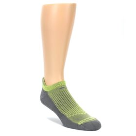 LARGE-Gray-Lime-Green-Mens-No-Show-Tab-Athletic-Socks-Drymax