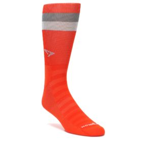 DM-LARGE-Orange-Gray-Stripe-Mens-Athletic-Crew-Socks-Drymax