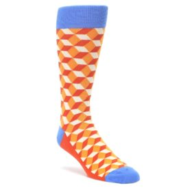 Statement Sockwear Beeline Optical Men's Socks in Orange and Blue