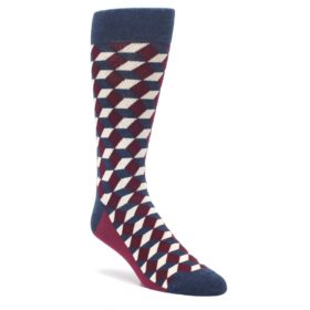 Statement Sockwear Beeline Optical Men's Dress Socks in Burgundy and Navy