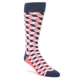 Flamingo Pink Navy Beeline Optical Men's Dress Socks by Statement Sockwear