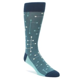 Teal Green Line Dot Men's Socks by Statement Sockwear