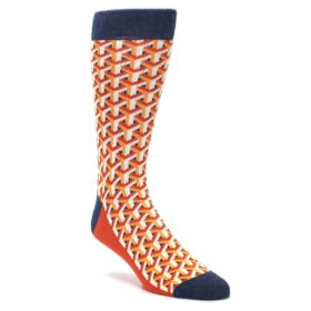 Orange Navy Optical Y Cube Men's Dress Socks by Statement Sockwear